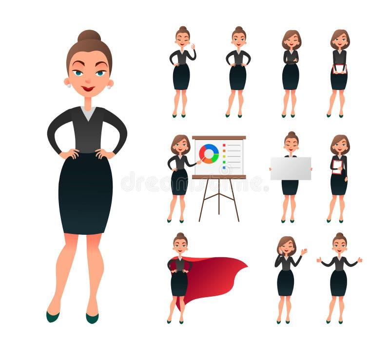 Ładnego bizneswomanu pracujący charakter - set Pomyślna przedsiębiorca dama w biurowej pracy sytuacjach Ufni potomstwa ilustracja wektor