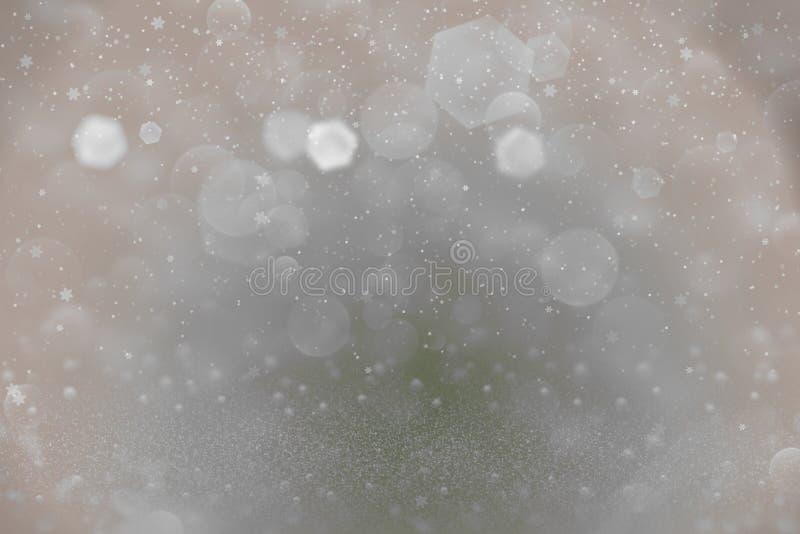 Ładnego jaśnienie błyskotliwości świateł defocused bokeh abstrakcjonistyczny tło i spada śnieżni płatki latamy, festiwalu mockup  ilustracji