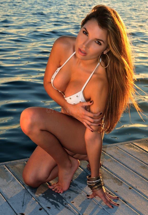 Ładnego latynoskiego swimsuit wzorcowy target951_0_ seksowny fotografia stock