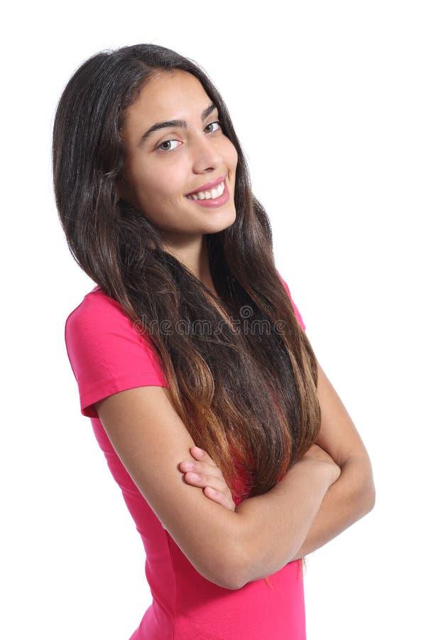 Ładnego nastolatka wzorcowy pozuje stać z fałdowymi rękami obrazy stock