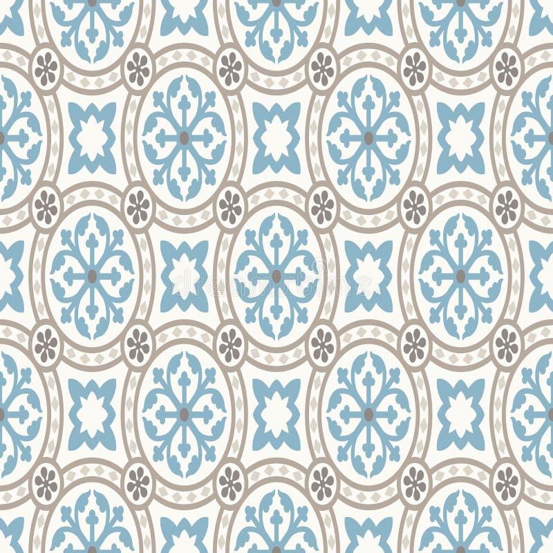 ładnego ornamentu retro rocznika tapeta Nowożytny geometryczny wzór, inspirowany starymi tapetami Ładni retro kolory popielaty be ilustracji