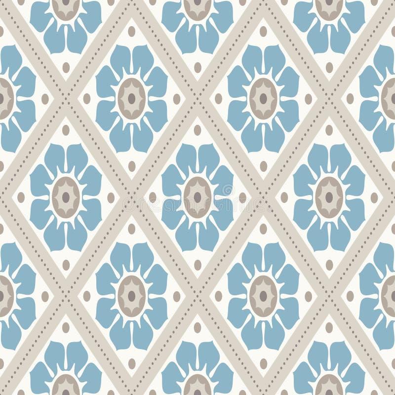 ładnego ornamentu retro rocznika tapeta Nowożytny geometryczny wzór, inspirowany starymi tapetami Ładni retro kolory popielaty be ilustracja wektor