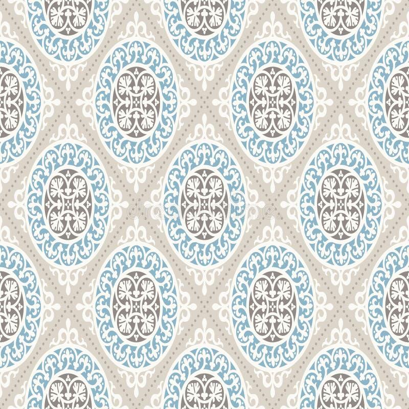 ładnego ornamentu retro rocznika tapeta Nowożytny geometryczny wzór, inspirowany starymi tapetami Ładni retro kolory popielaty be royalty ilustracja