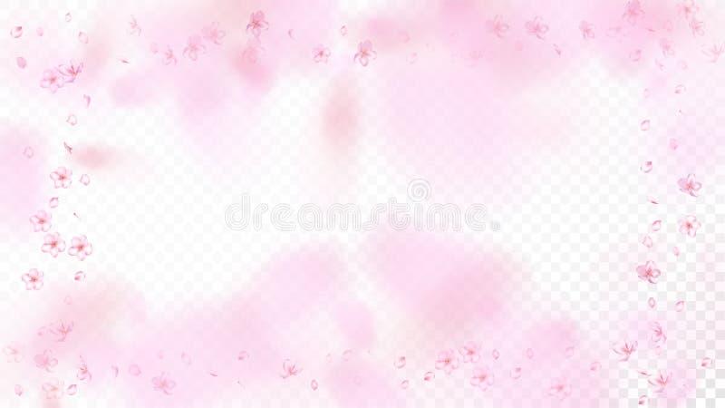 Ładnego Sakura okwitnięcia Odosobniony wektor Akwarela Lata 3d płatki Poślubia wzór Walentynka, matka dnia Sakura Magiczny Ładny  royalty ilustracja
