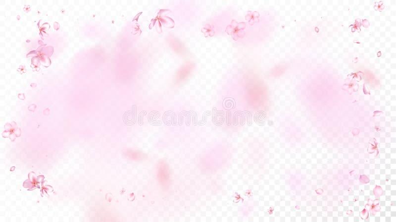 Ładnego Sakura okwitnięcia Odosobniony wektor Magiczni dmuchania 3d płatki Poślubia teksturę Walentynka, matka dnia Sakura Realis ilustracja wektor