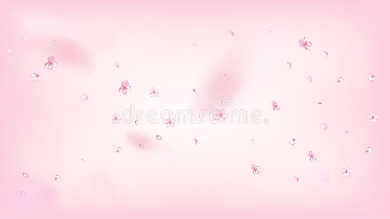Ładnego Sakura okwitnięcia Odosobniony wektor Wiosna Dmucha 3d płatki Poślubia granicę Japończyk Zamazujący Kwitnie tapetę valent ilustracji