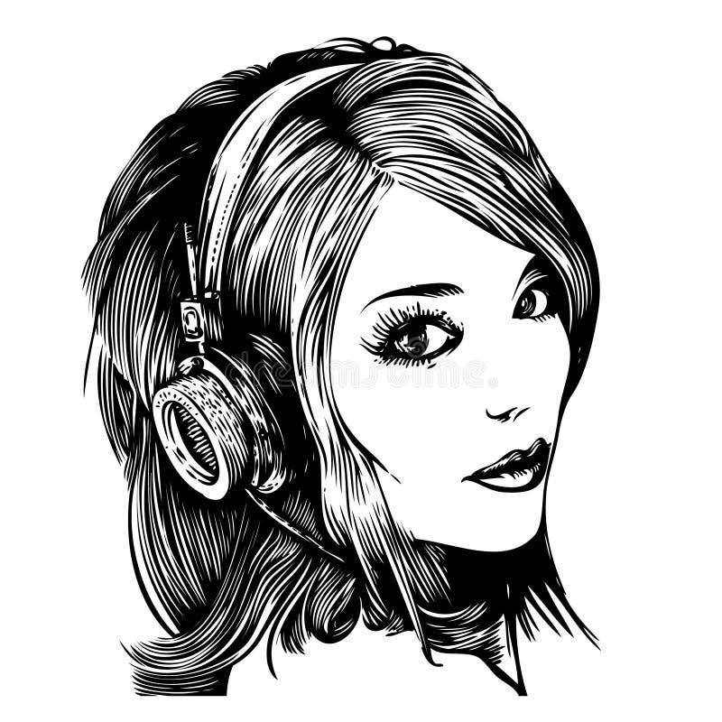 ładni dziewczyna hełmofony royalty ilustracja