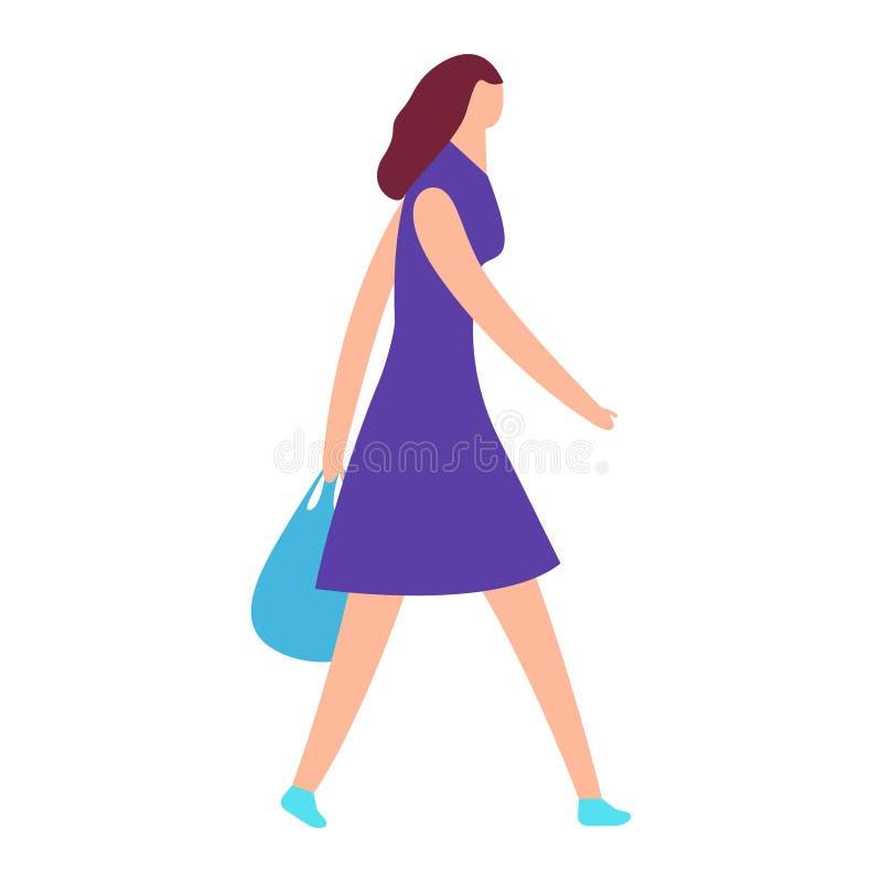 Ładni dziewczyna komesi z pakunkiem w ręce, odosobnionej na białym tle ilustracja wektor