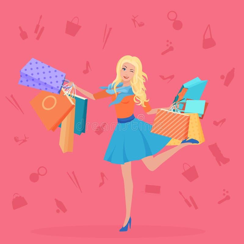Ładni młodzi blondyny z torba na zakupy wektoru ilustracją Zakupy ikon backgrouns royalty ilustracja