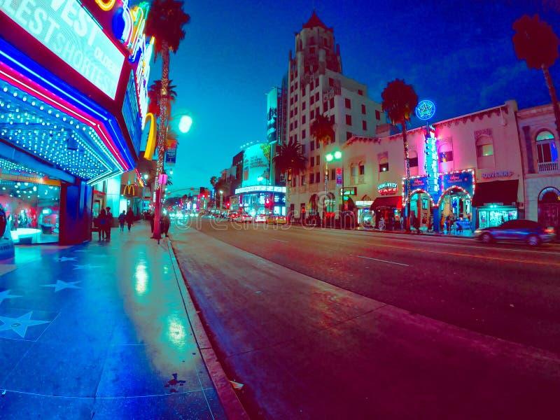 Ładni noc widoki miasto w California zdjęcia stock