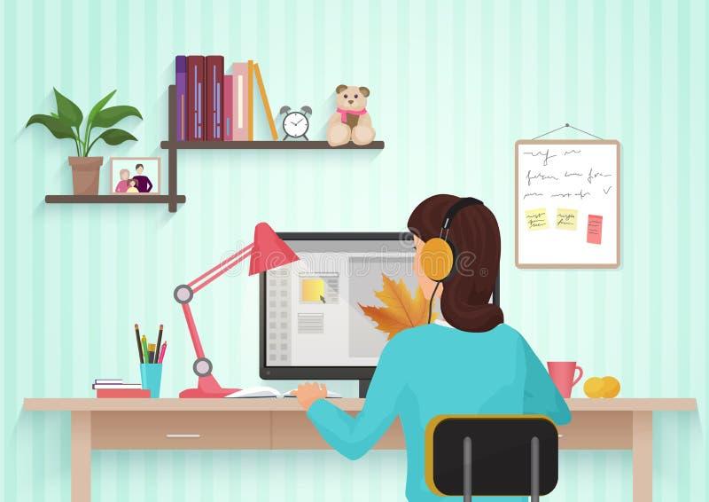 Ładny żeński projektant pracuje z kolorami w domu Młoda kobieta pracuje w biurze, siedzący przy biurkiem, używać komputer royalty ilustracja