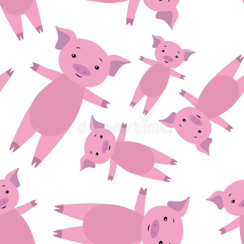 Ładny bezszwowy wzór różowe świnie nowy rok 2019 ilustracji