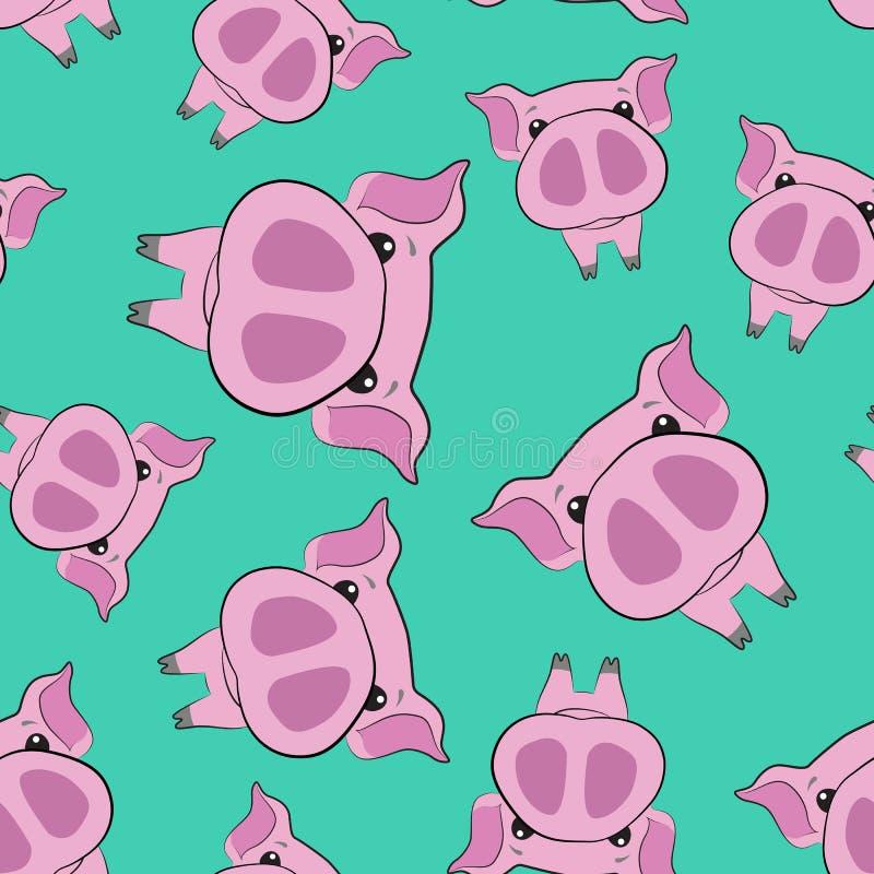 Ładny bezszwowy wzór różowe świnie nowy rok 2019 ilustracja wektor