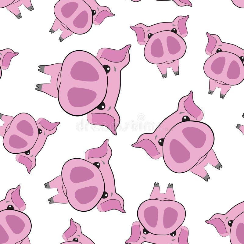 Ładny bezszwowy wzór różowe świnie nowy rok 2019 royalty ilustracja