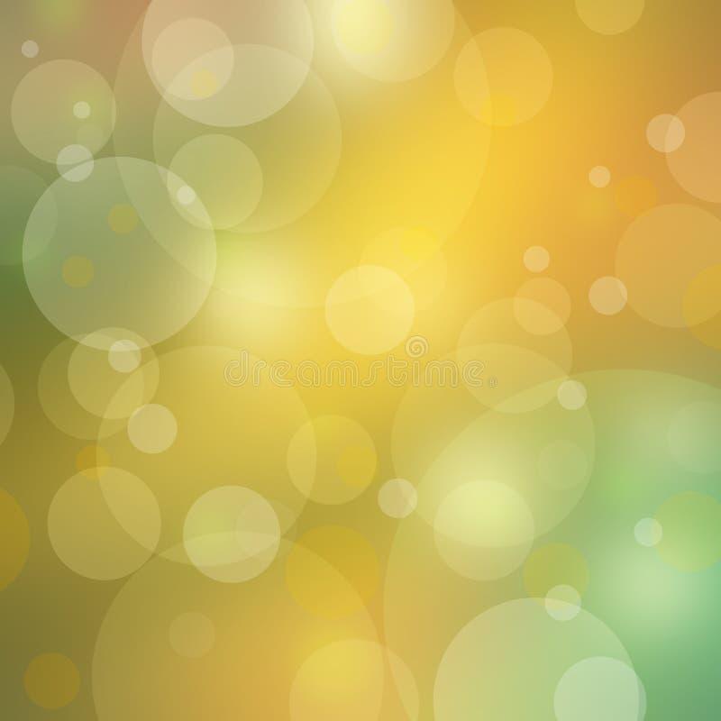 Ładny bokeh tło zaświeca na zamazanym złocie i zielonych kolorach ilustracja wektor