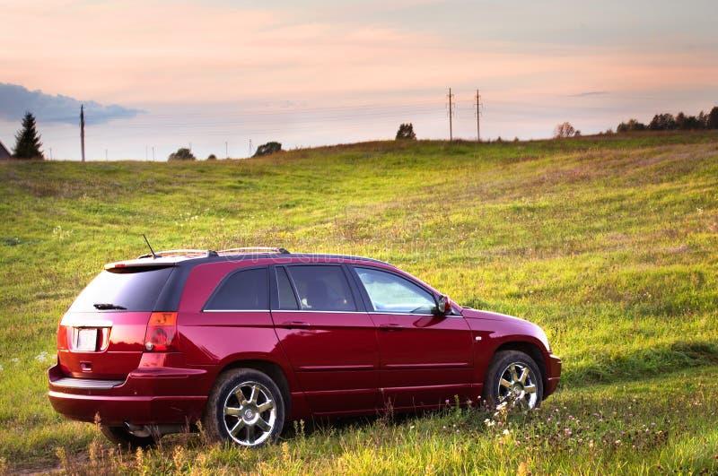 Ładny czerwony samochód obraz stock