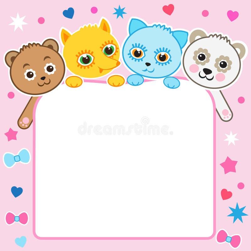 Ładny dziecięcy kreskówki tło Dzieci zwierzęta Figlarka Panda lis Niedźwiedź royalty ilustracja