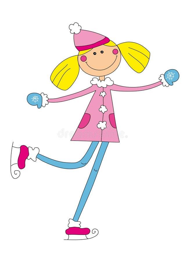 ładny dziewczyny łyżwiarstwo royalty ilustracja