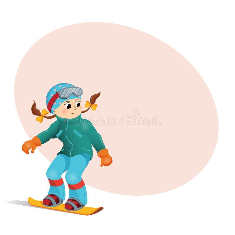 Ładny dziewczyny jazda na snowboardzie zjazdowy, miejsce dla teksta ilustracja wektor