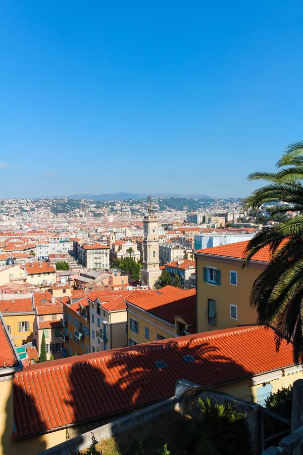 Ładny, Francja - 16 09 16: Odgórny widok na deptaka des Anglais, jeden piękni bulwary Europa zdjęcia stock