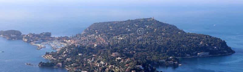 Ładny Francuski Riviera, CÃ'te d ` Azur, Eze, Cannes i Monaco, śródziemnomorski wybrzeże, święty, Błękitne wody i luksusu jachty zdjęcie stock