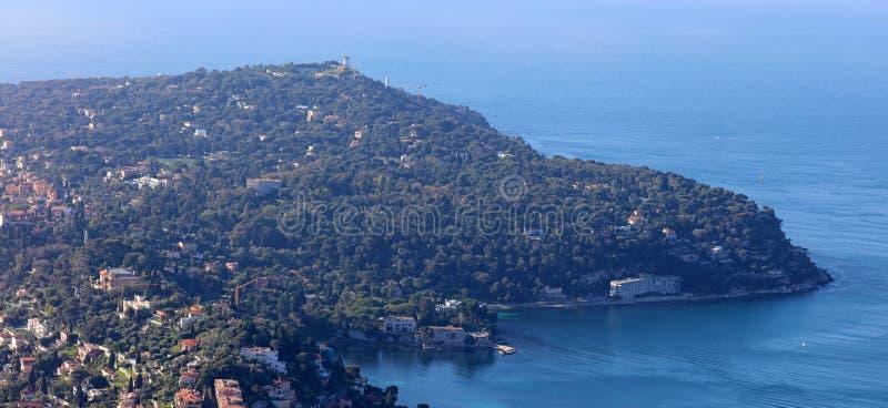 Ładny Francuski Riviera, CÃ'te d ` Azur, Eze, Cannes i Monaco, śródziemnomorski wybrzeże, święty, Błękitne wody i luksusu jachty obrazy stock