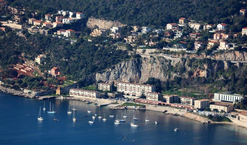 Ładny Francuski Riviera, CÃ'te d ` Azur, Eze, Cannes i Monaco, śródziemnomorski wybrzeże, święty, Błękitne wody i luksusu jachty obraz stock