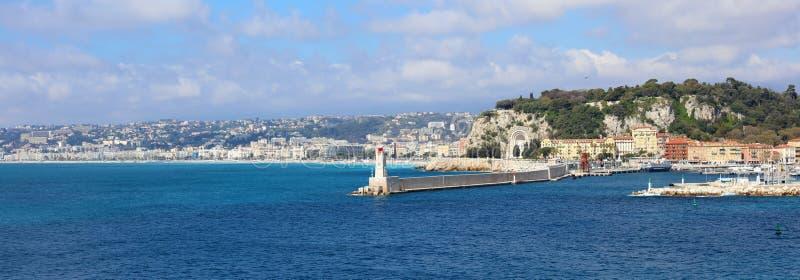 Ładny Francuski Riviera, CÃ'te d ` Azur, Eze, Cannes i Monaco, śródziemnomorski wybrzeże, święty, Błękitne wody i luksusu jachty zdjęcia stock