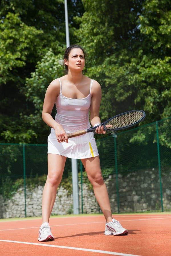 Ładny gracz w tenisa przygotowywający bawić się fotografia royalty free