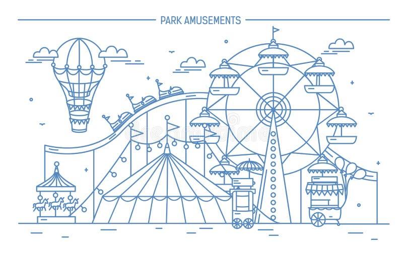 Ładny horyzontalny sztandar park rozrywki Cyrk, ferris koło, przyciągania, boczny widok z aerostatem w powietrzu monochrom ilustracja wektor