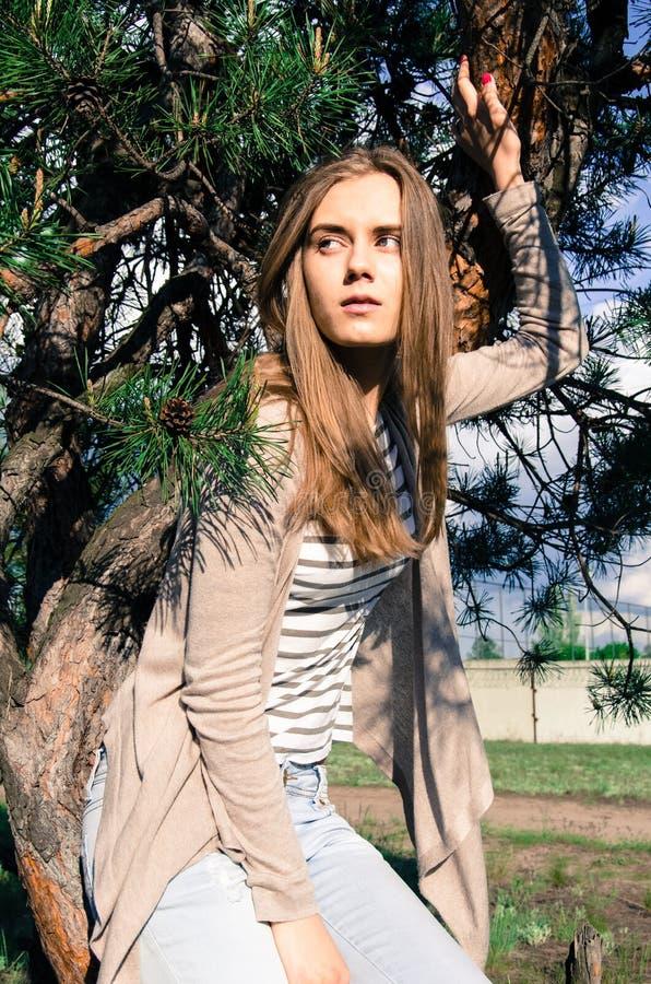 Ładny i seksowny wzorcowy obsiadanie na drzewie i pozować na kamerze fotografia royalty free