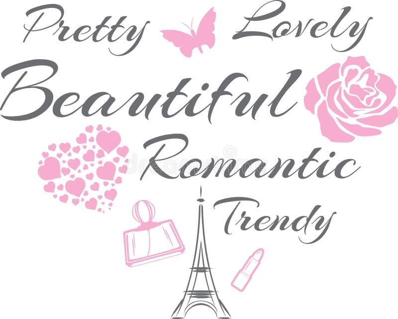 Ładny i uroczy Pi?kny romantyczny projekt royalty ilustracja