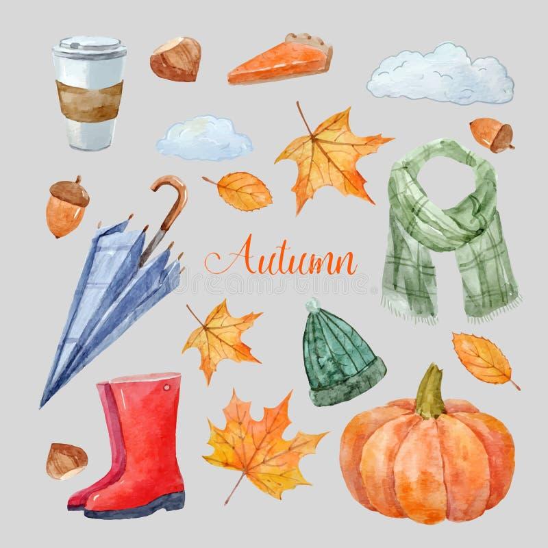 Ładny jesień wektoru set ilustracji
