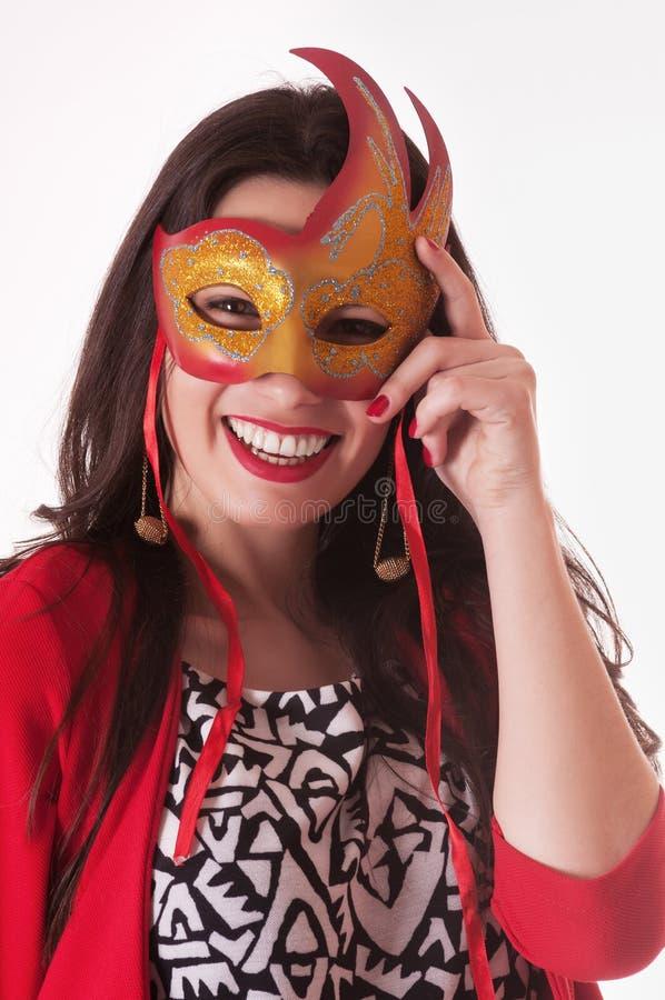 Ładny kobieta portret z maską obrazy stock