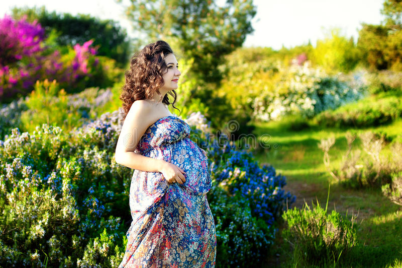 Ładny kobieta w ciąży pozuje w zielonym rozmarynie uprawia ogródek zdjęcie stock
