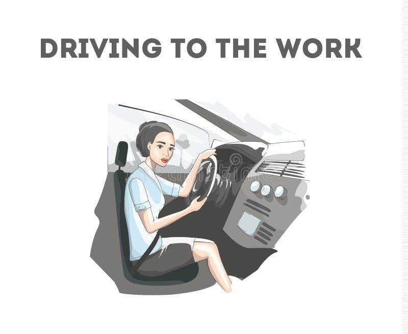 Ładny kobiety jeżdżenie w samochodzie praca ilustracji