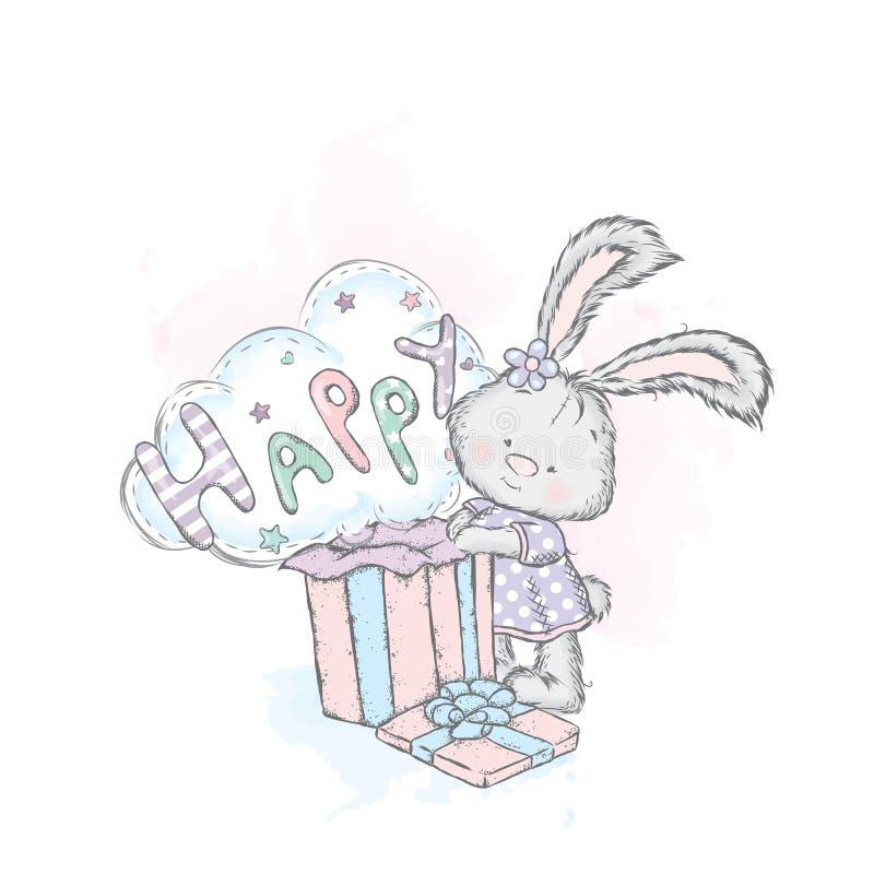 Ładny królik w sukni otwiera pudełko z prezentem Wektorowa ilustracja dla pocztówki lub plakata, druk dla odziewa ilustracja wektor