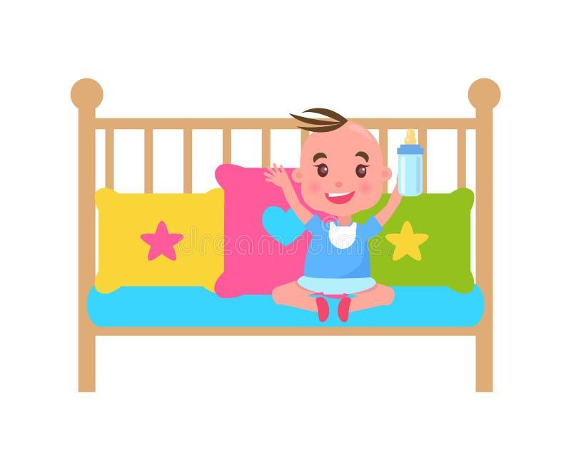 Ładny Little Boy w Śliczny ściąga, koloru szablon royalty ilustracja