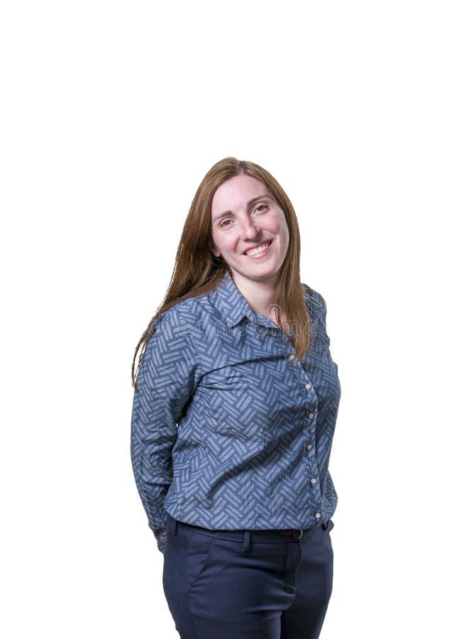 Ładny młody bizneswoman jest szczęśliwy nad białym tłem fotografia stock