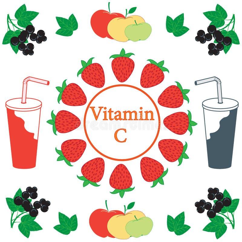 Ładny obrazek jabłka, truskawki, czarni rodzynki r i sok, ilustracji