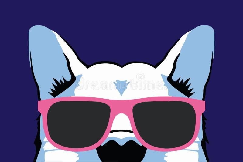 Ładny odosobniony psi zwierzę w różowych szkłach na purpurowej tło wektoru ilustracji ilustracja wektor