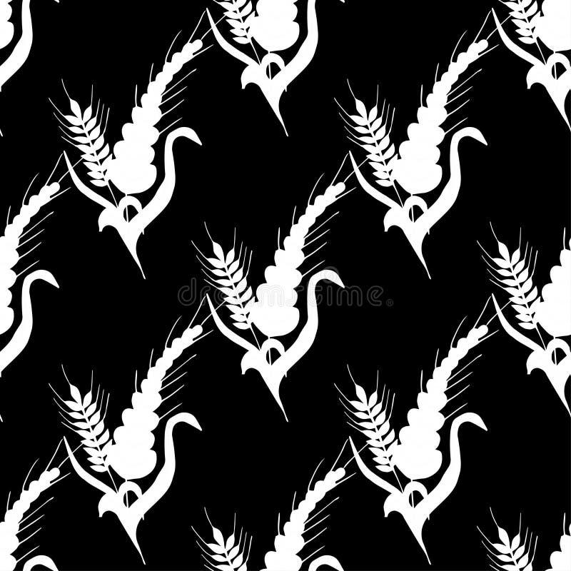 Ładny, płynny wzór Piękny owies, wypatroszony ręcznie, odizolowany na białym tle ilustracji