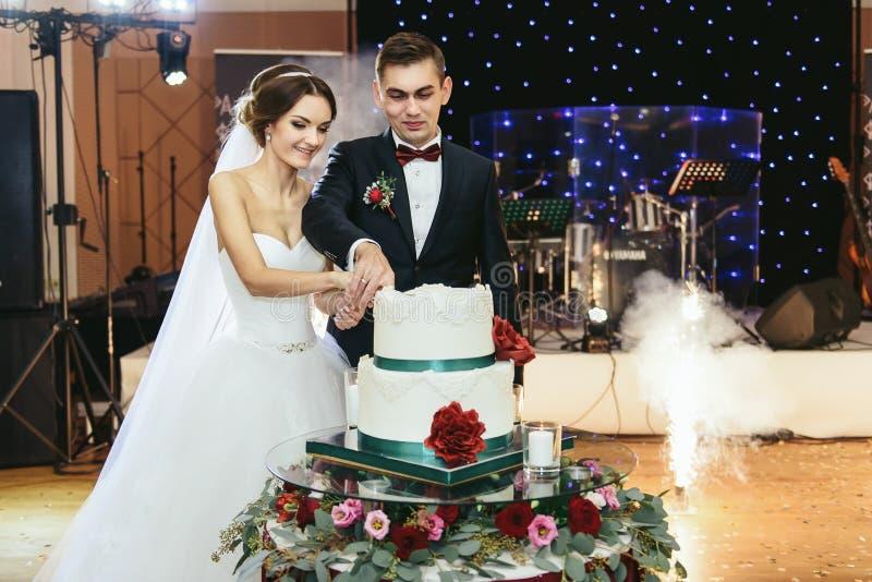 Ładny państwo młodzi ciie ślubnego tort przy the first time fotografia royalty free