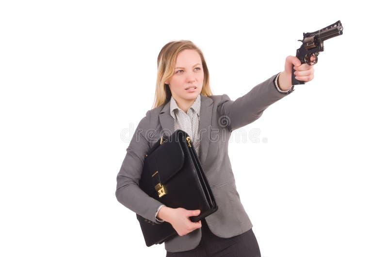 Ładny pracownik z pistolecikiem odizolowywającym na bielu fotografia royalty free