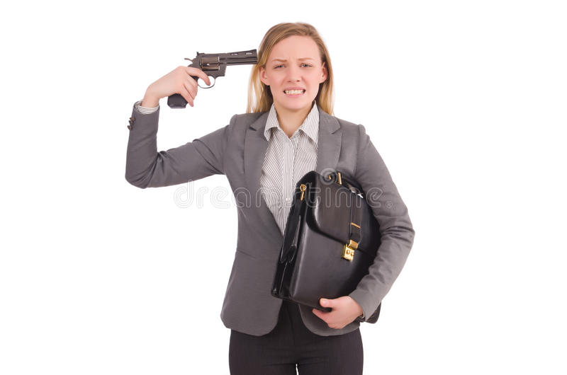 Ładny pracownik z pistolecikiem odizolowywającym na bielu obraz stock