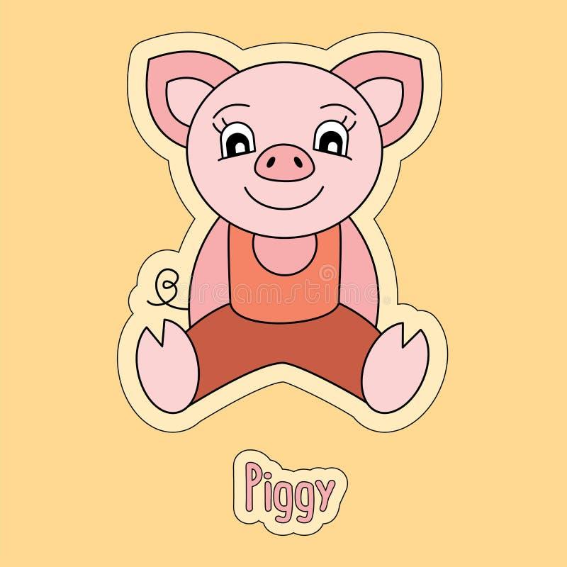 Ładny prosiątko, kreskówka majcher, śmieszny zwierzę, dziecka ` s rysunek, karta ilustracji