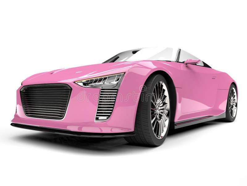 Ładny różowy nowożytny kabrioletów sportów samochód - niskiego kąta frontowy widok ilustracja wektor