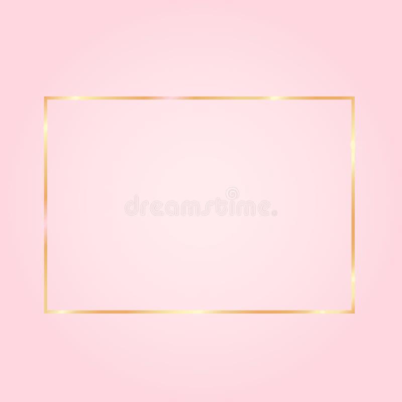Ładny różowy tło z złotą ramą dalej royalty ilustracja
