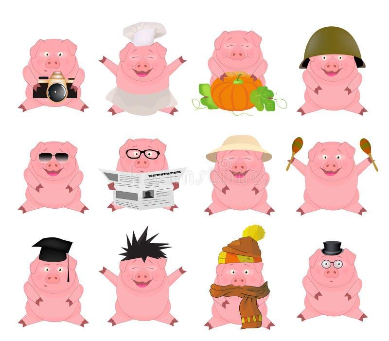 Ładny set kreskówek świnie royalty ilustracja