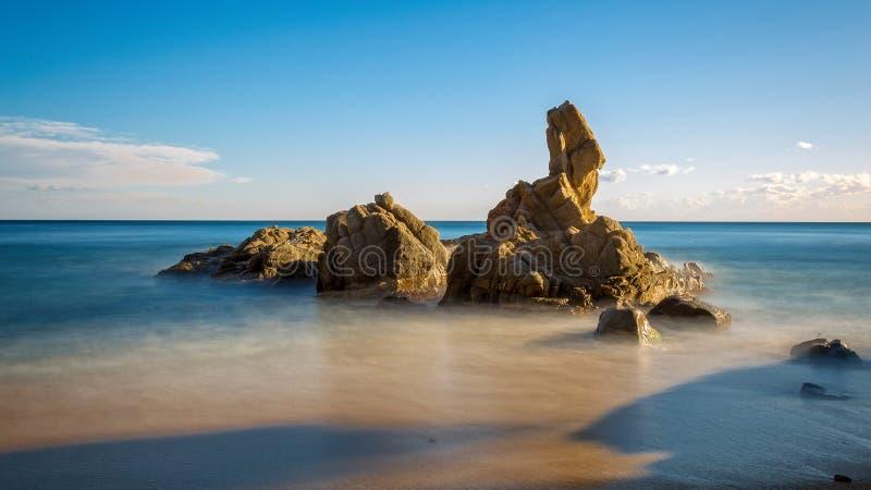 Ładny szczegół Hiszpański wybrzeże w Costa Brava, Sant Antoni de zdjęcie stock